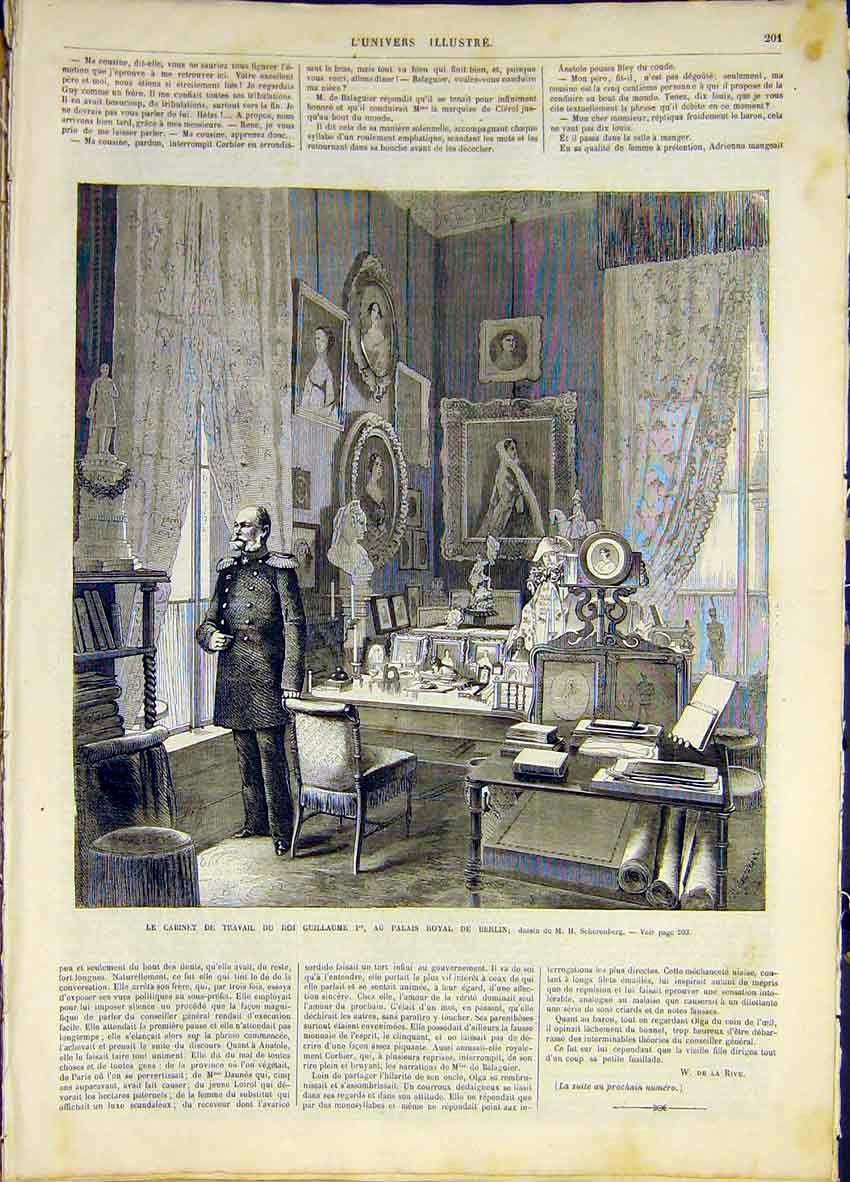 Print Guillaume Royal Palace Berlin French 1868 01Lun0 Old Original