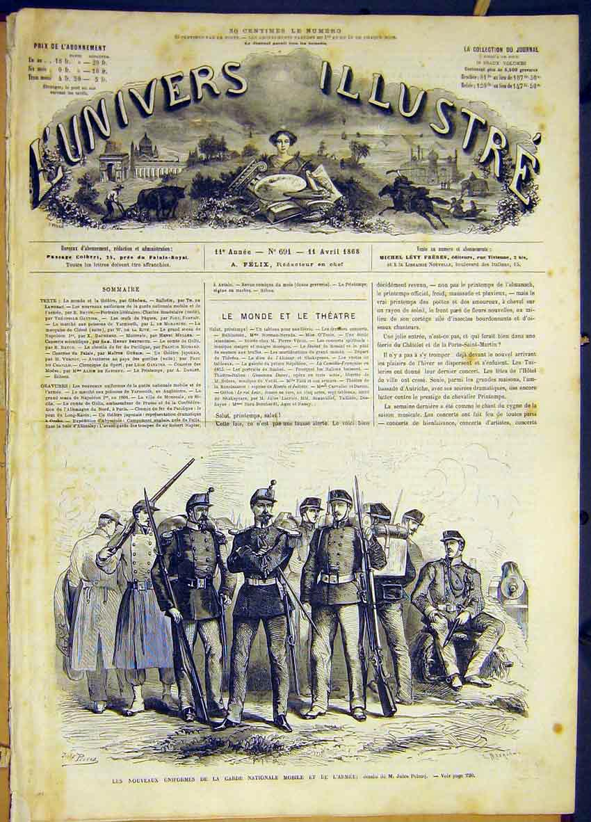 Print Uniforms Military Guard Mobile French 1868 18Lun0 Old Original