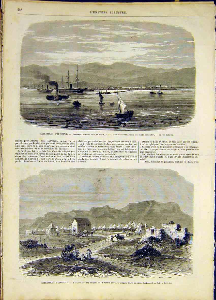 Print Expedition Abyssinia Antalo Annesley French 1868 28Lun0 Old Original