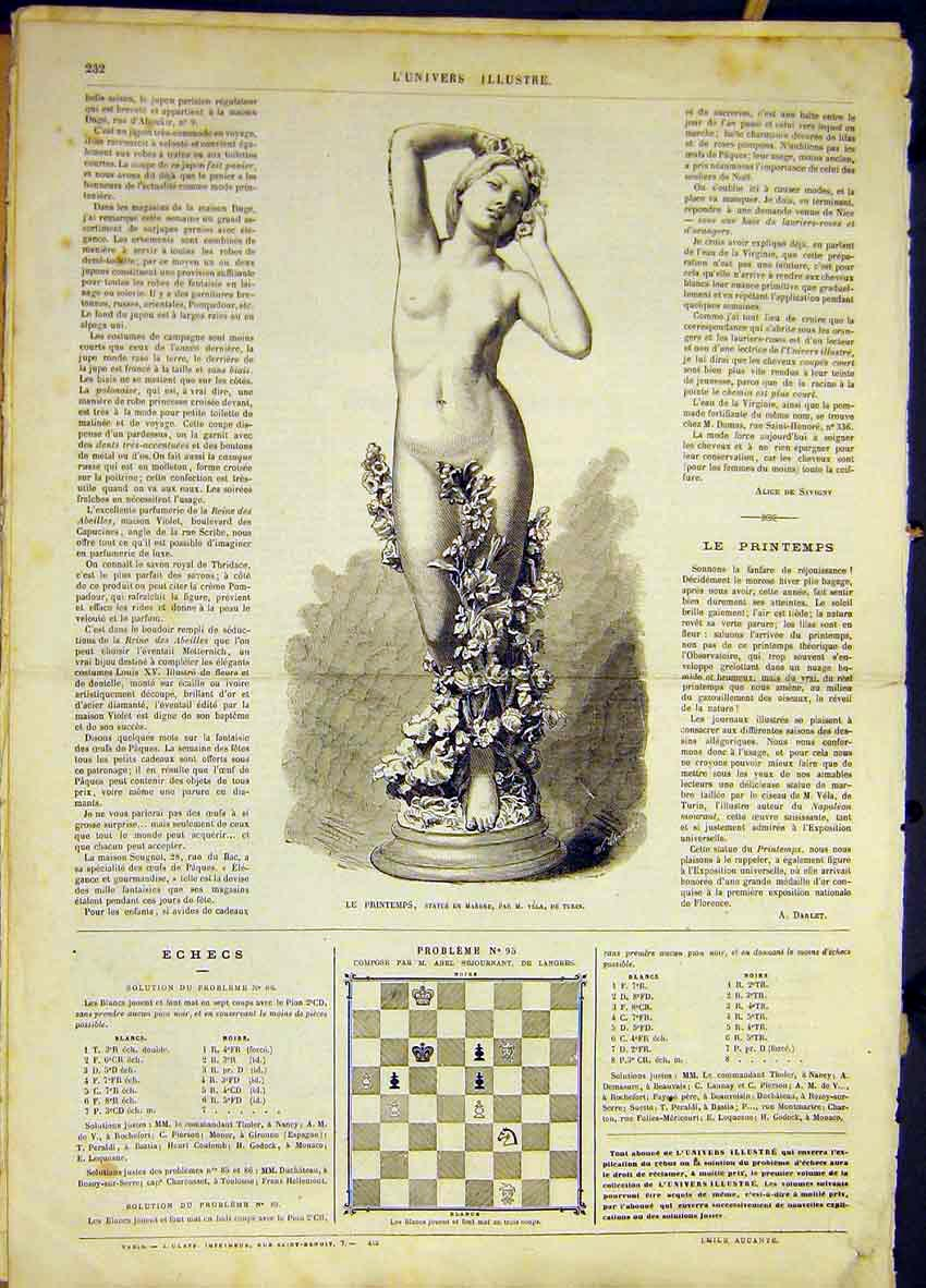 Print Spring Statue Marble Turin Italy Vela French 1868 32Lun0 Old Original