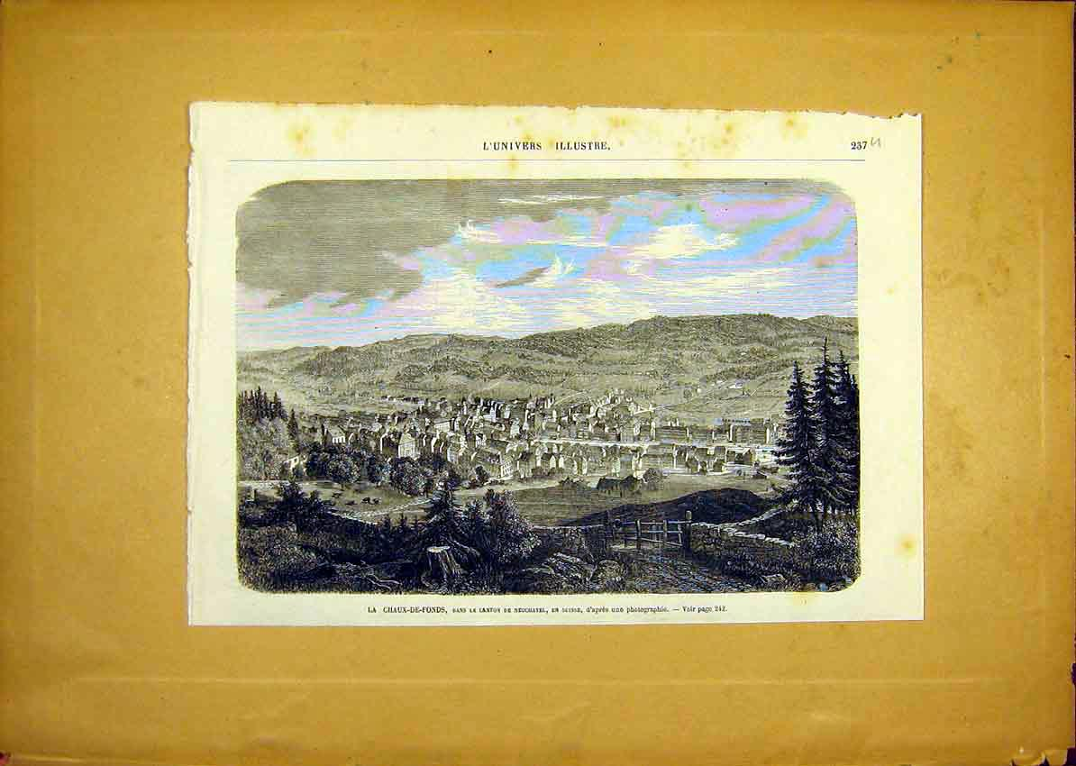 Print Chaux-De-Fonds Switzerland Neuchatel French 1868 37Ulun0 Old Original