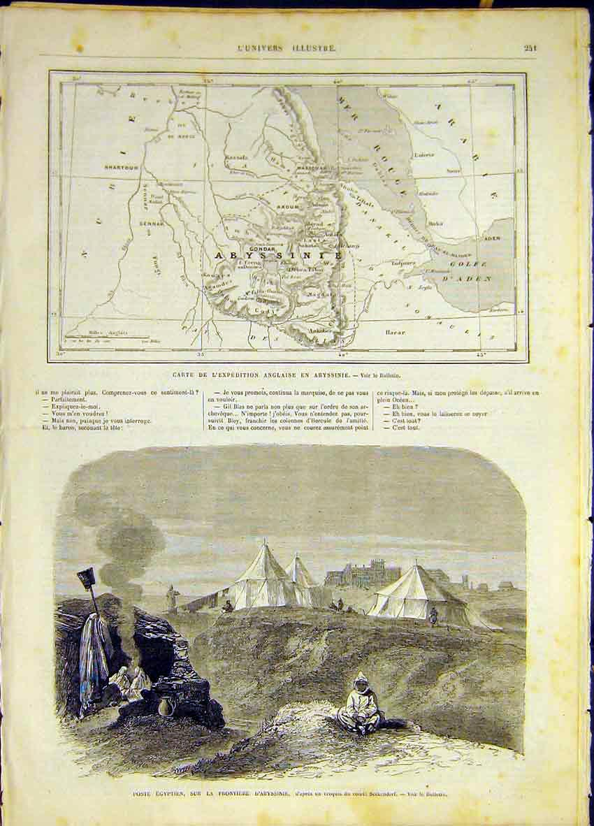 Print Map Abyssinia Egytpian Guard War French 1868 41Lun0 Old Original