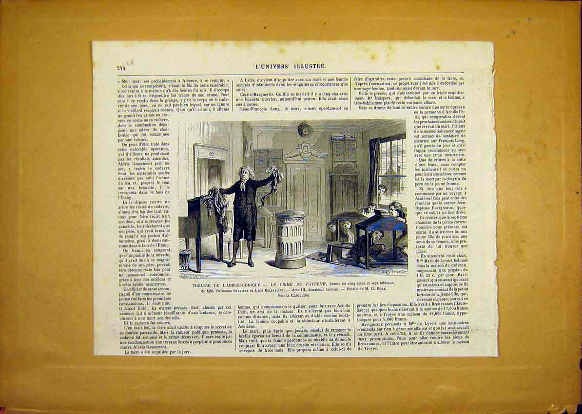 Print Theatre Faverne Comic Beauvallet French 1868 44Ulun0 Old Original
