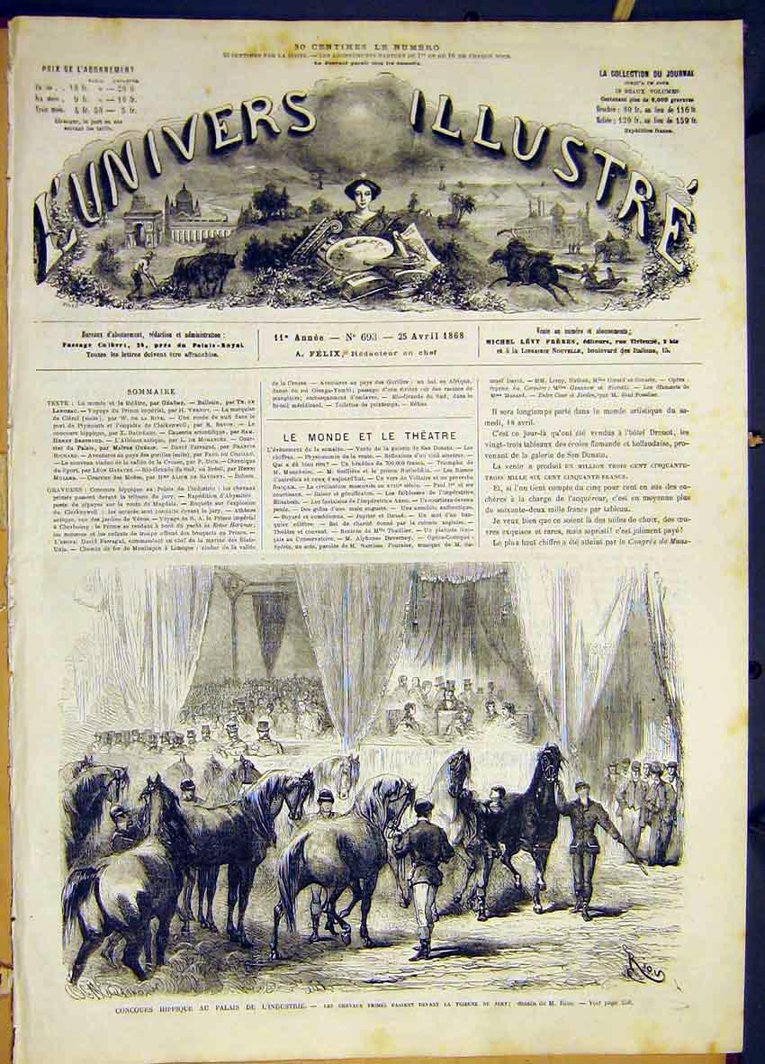 Print Horses Judges Hippodrome Industry French 1868 50Lun0 Old Original