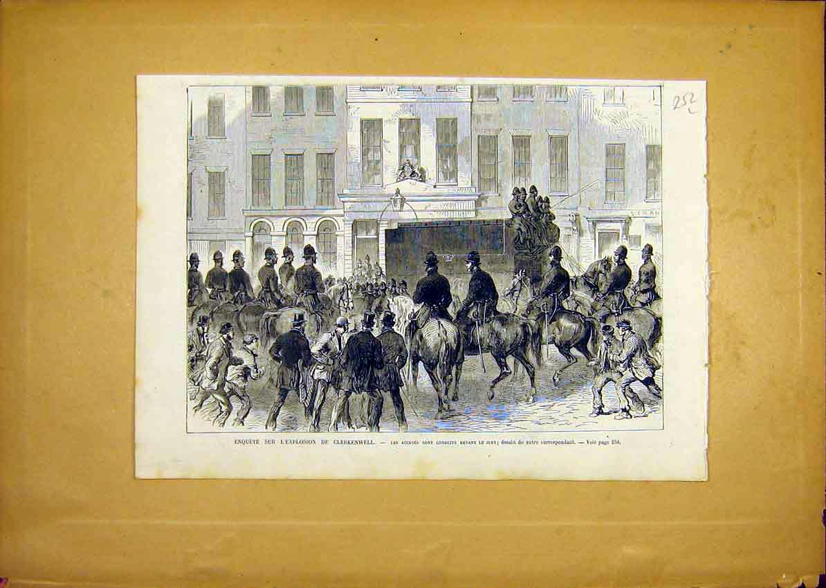 Print Ecplosion Clerkenwell Jury Court French 1868 52Llun0 Old Original
