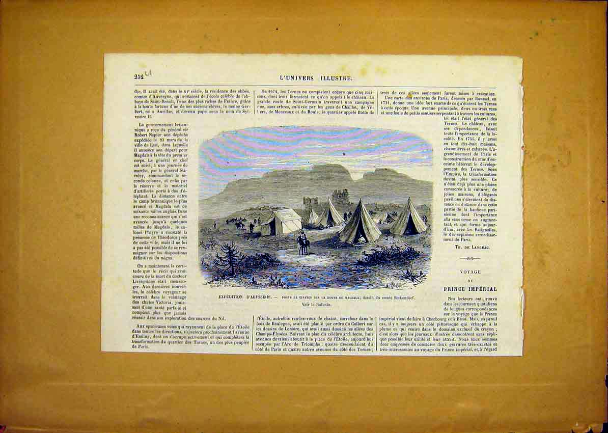 Print Expedition Abyssinia Magdala French 1868 52Ulun0 Old Original
