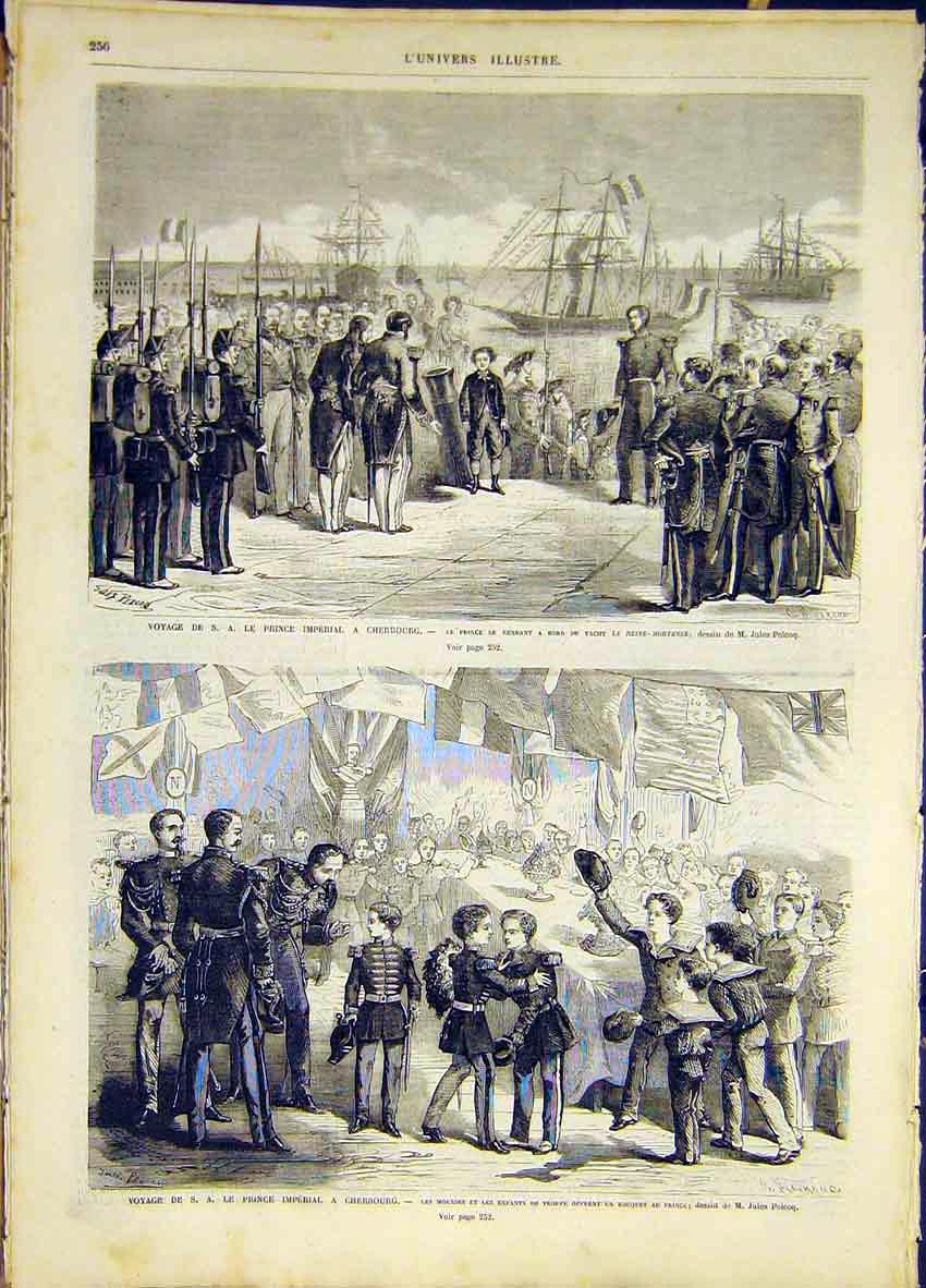 Print Cherbourg Prince Imperial Children French 1868 56Lun0 Old Original