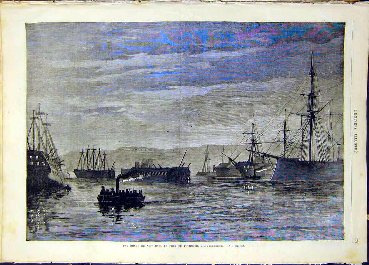 Print Plymouth Port Boats Night French 1868 57Lun0 Old Original