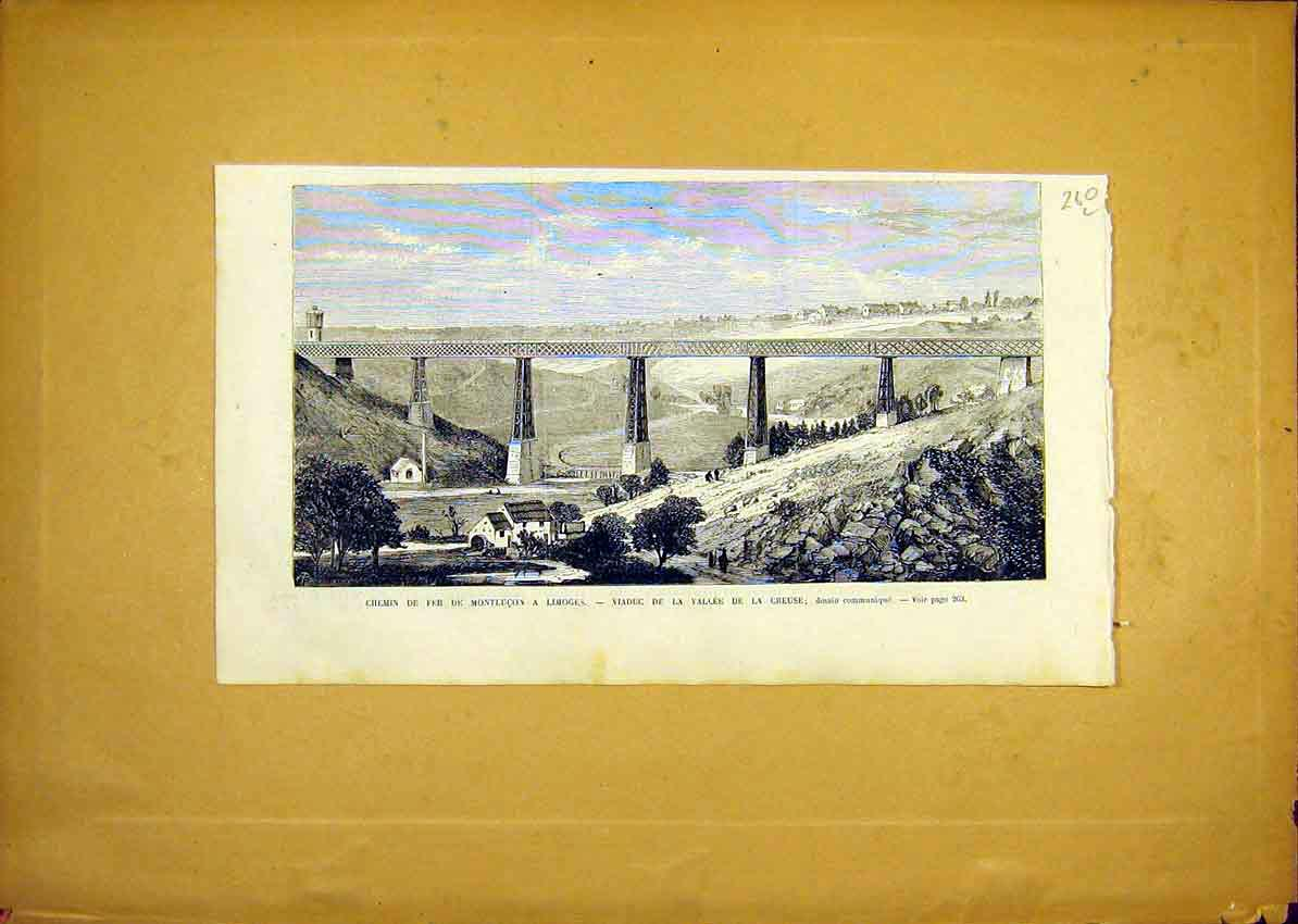 Print Railway Viaduct Creuse Limoges French 1868 60Llun0 Old Original