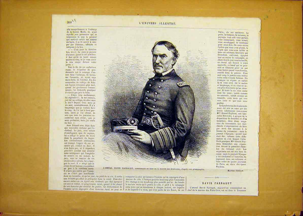 Print Portrait Admiral Farragut French 1868 60Ulun0 Old Original