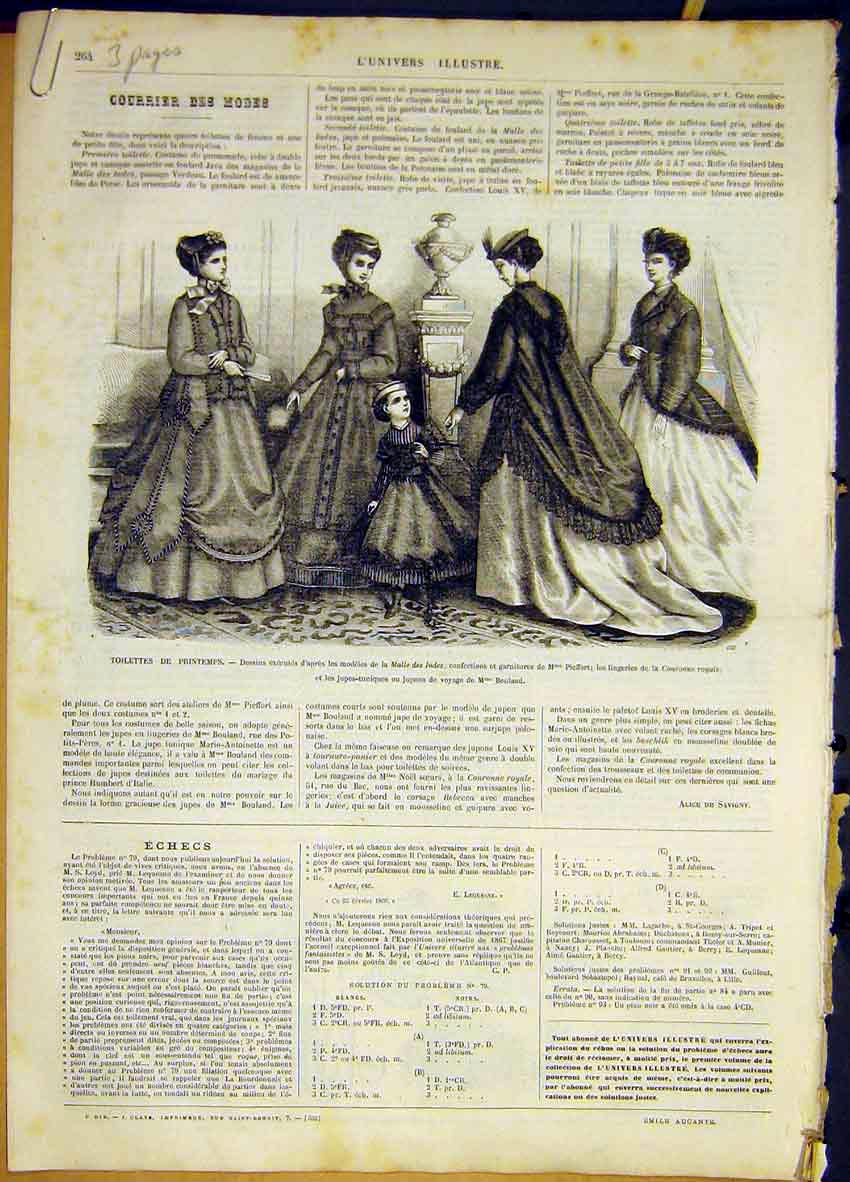 Print Ladies Fashion Spring Dresses French 1868 64Lun0 Old Original