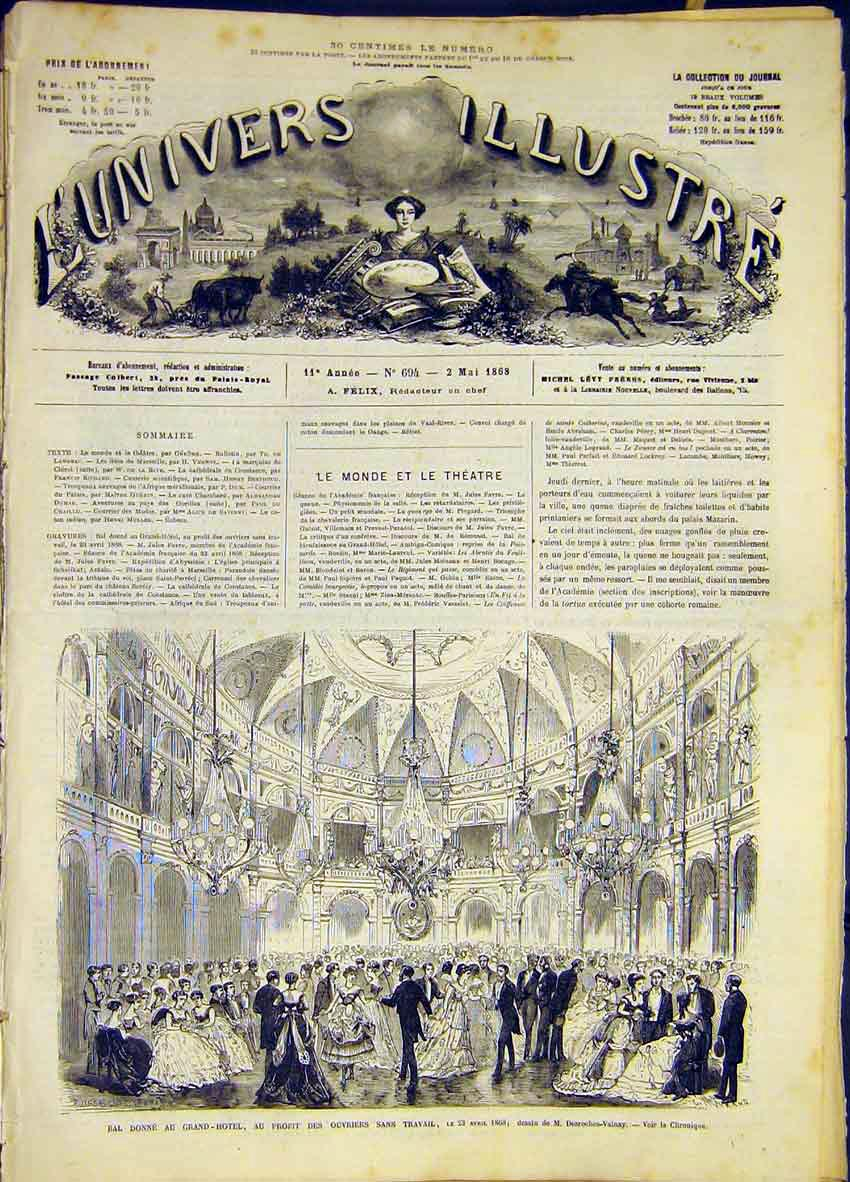 Print Ball Grand-Hotel Poor French 1868 66Lun0 Old Original