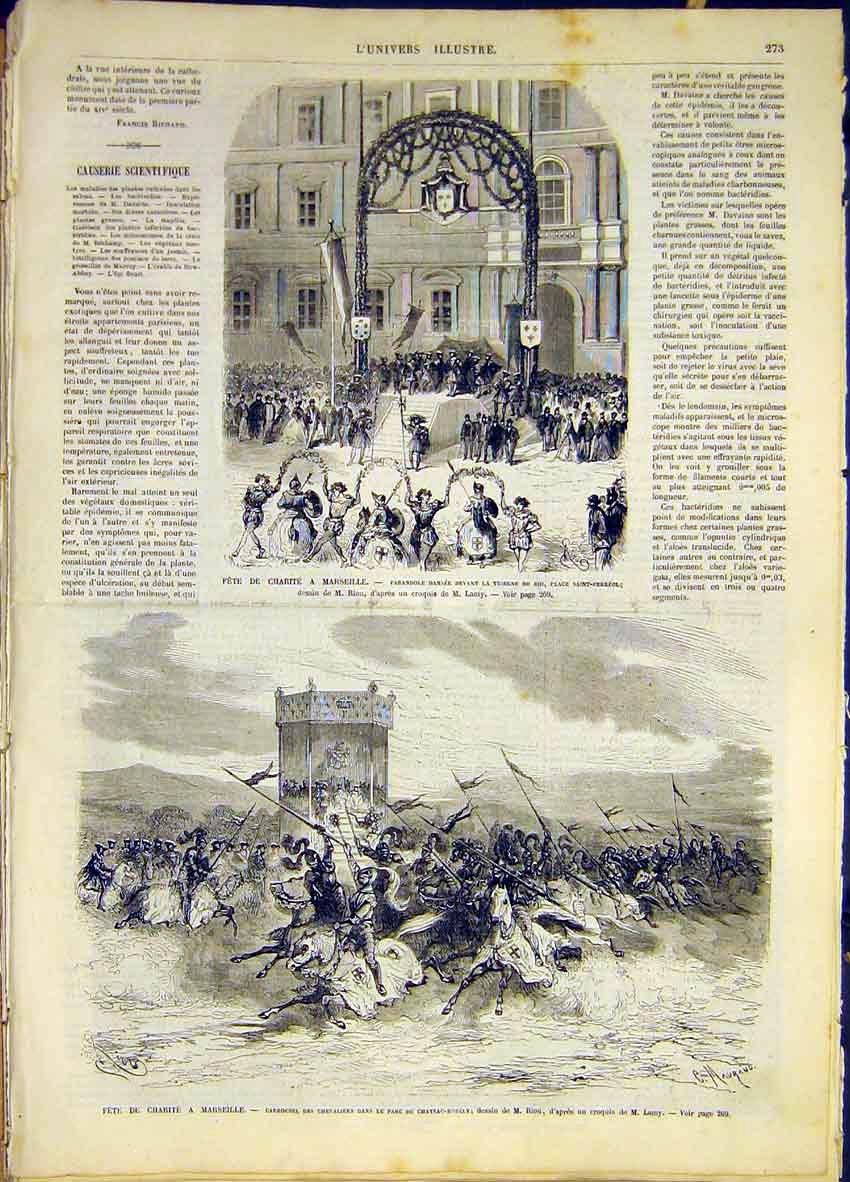Print Fete Marseille France Charity French 1868 73Lun0 Old Original