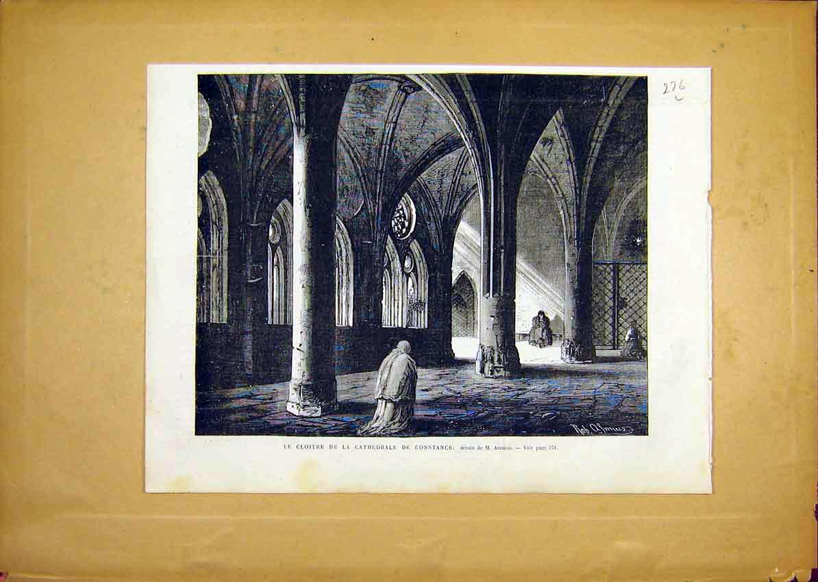 Print Cathedral Constance Cloisters French 1868 76Llun0 Old Original