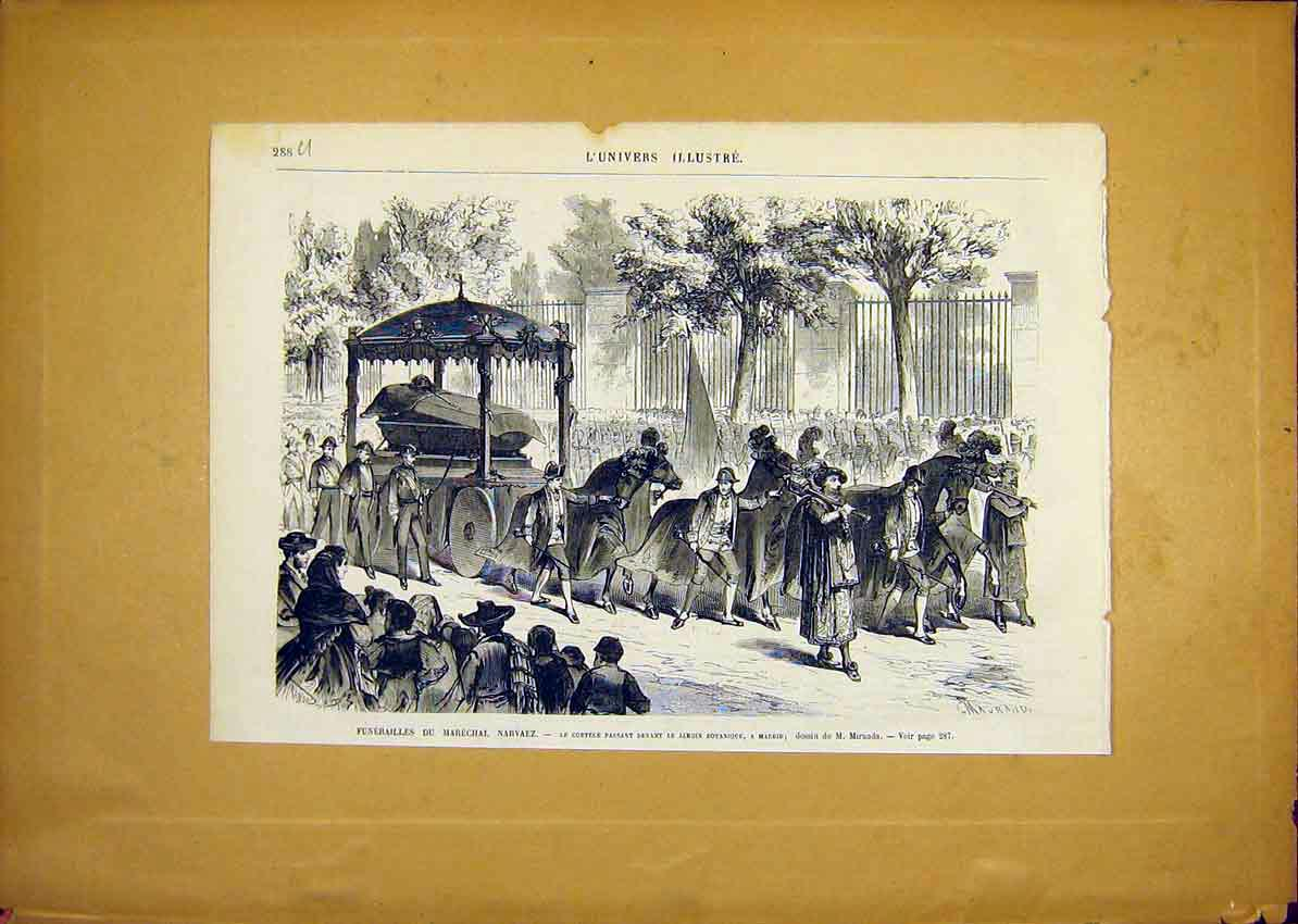 Print Funeral Marechal Narvaez Madrid Spain French 1868 88Ulun0 Old Original