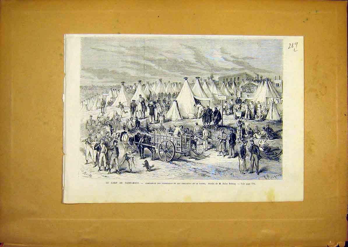 Print Camp Saint-Maur Chasseurs Guards French 1868 89Llun0 Old Original