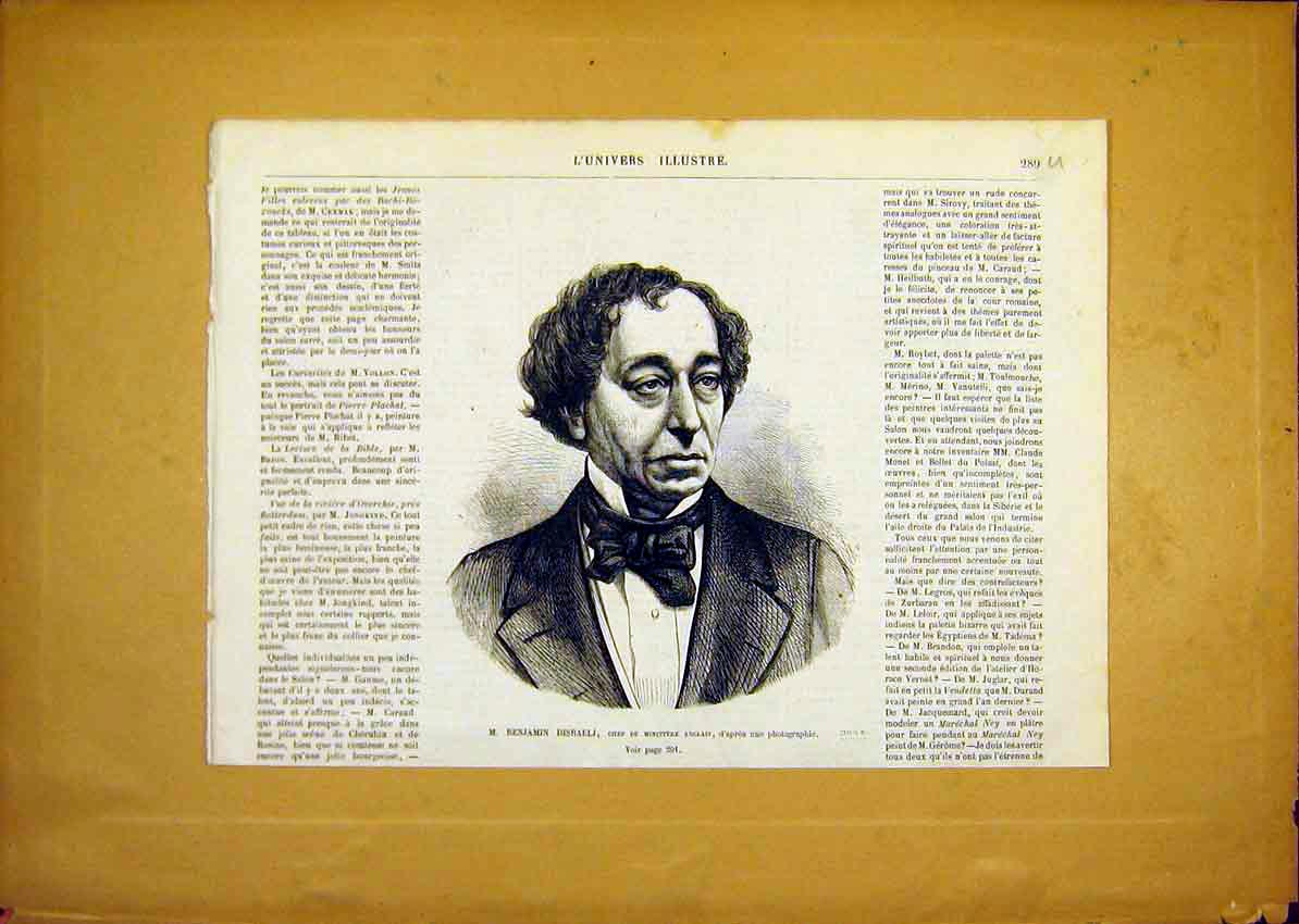 Print Portrait Disraeli Minister English French 1868 89Ulun0 Old Original