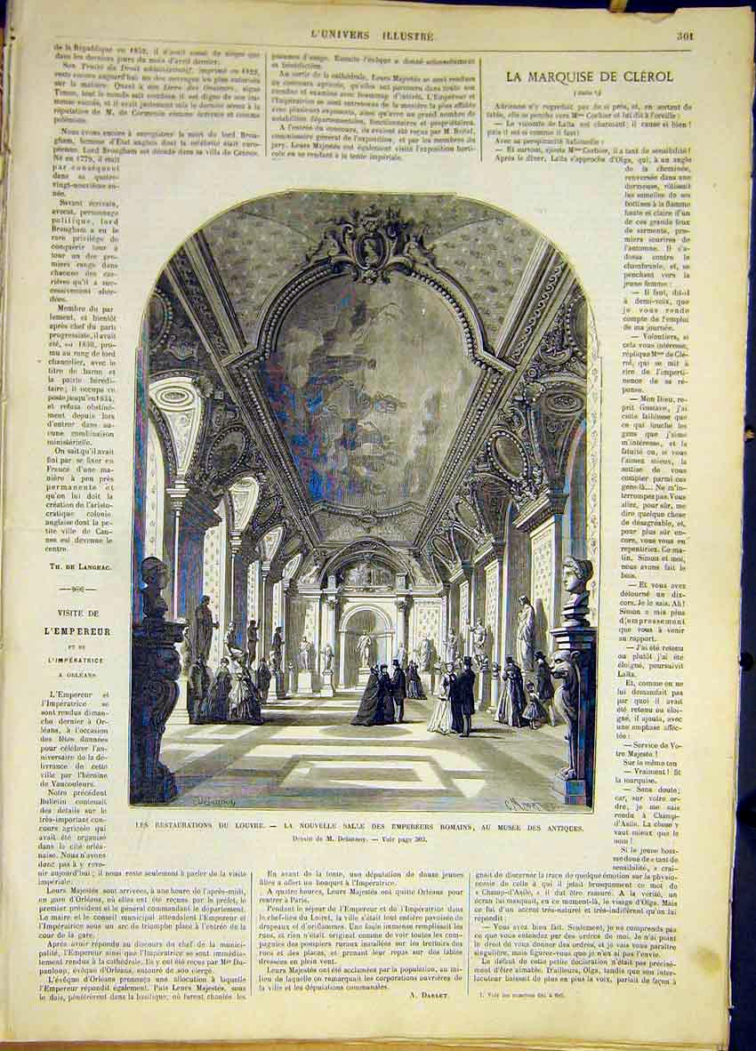 Print Louvre Restorations Roman Emperors French 1868 01Lun0 Old Original
