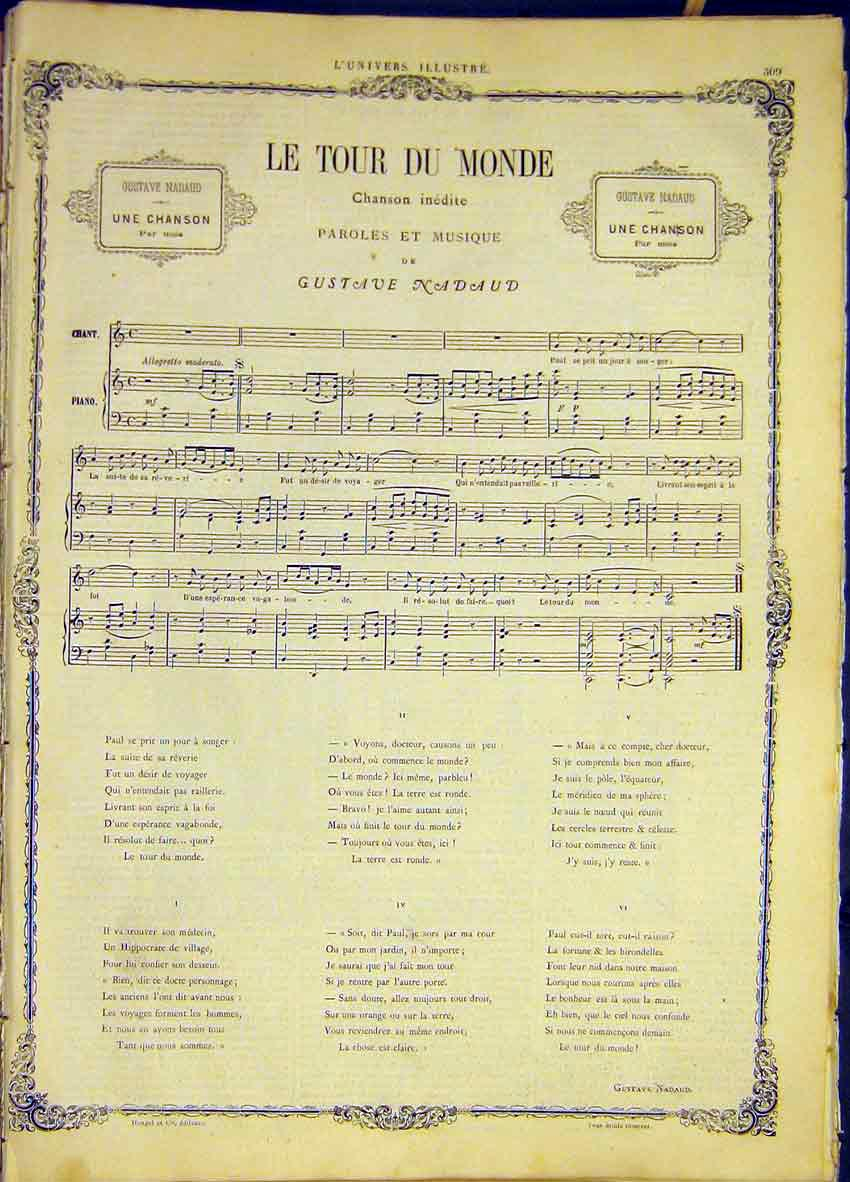 Print Le Tour Du Monde Song Music Score Nadaud 1868 09Lun0 Old Original