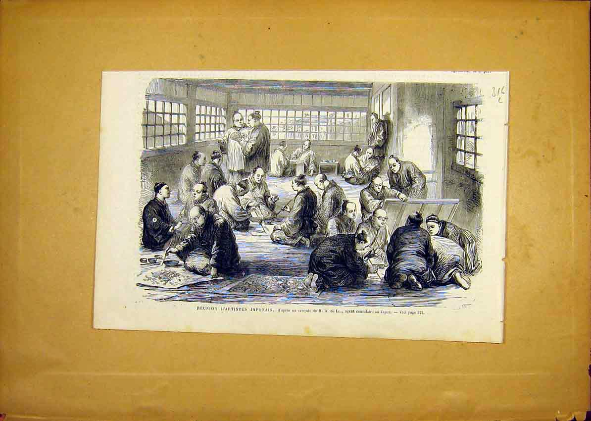 Print Japanese Artists Reunion Japan French 1868 16Llun0 Old Original