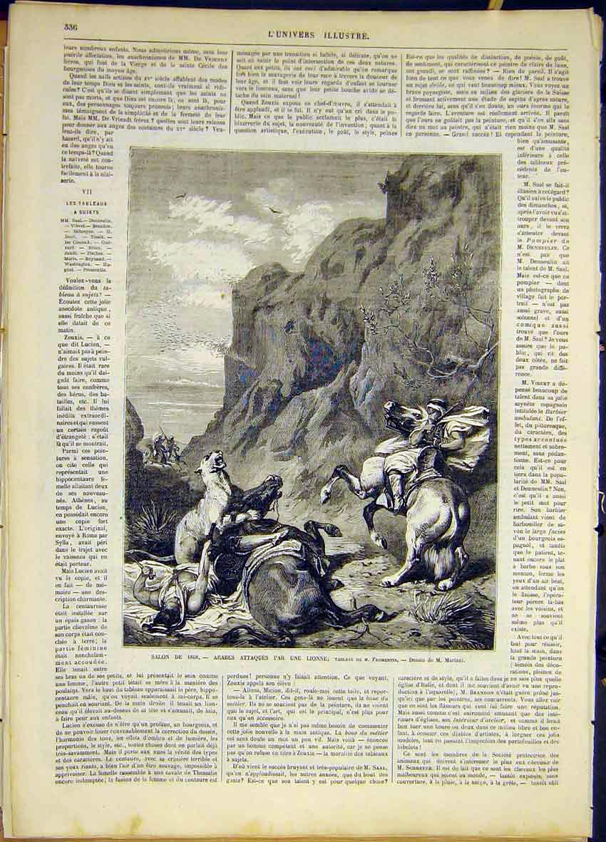Print Arabs Lion Attack Fromentin French 1868 36Lun0 Old Original