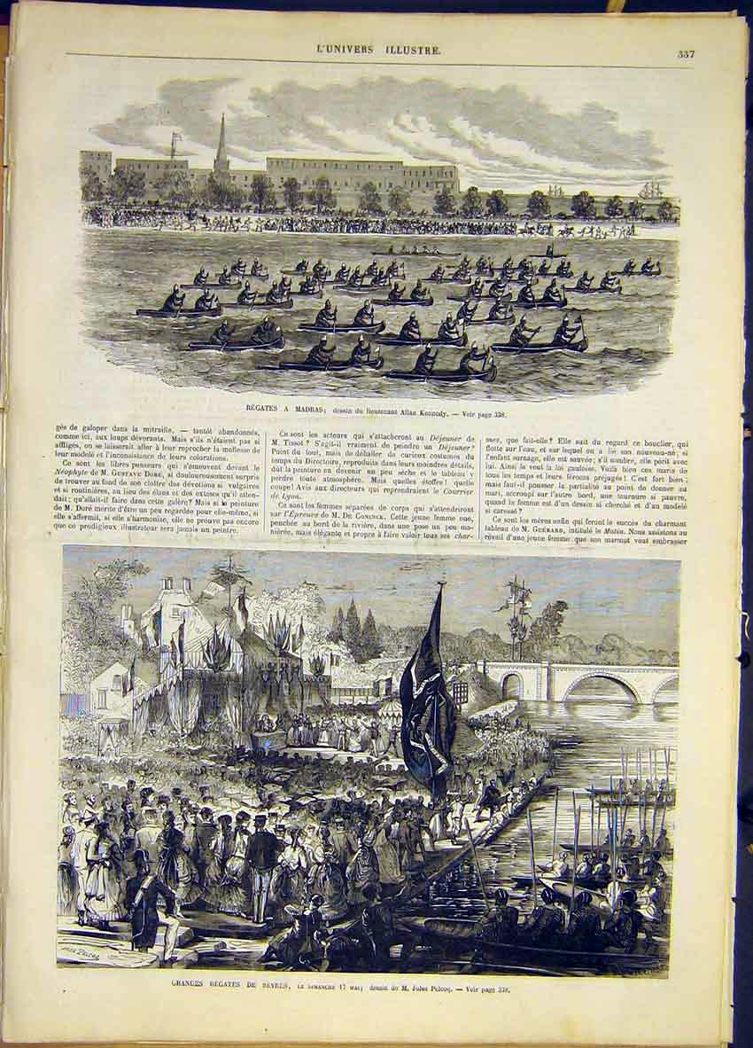Print Regatta Madras India Sevres France French 1868 37Lun0 Old Original