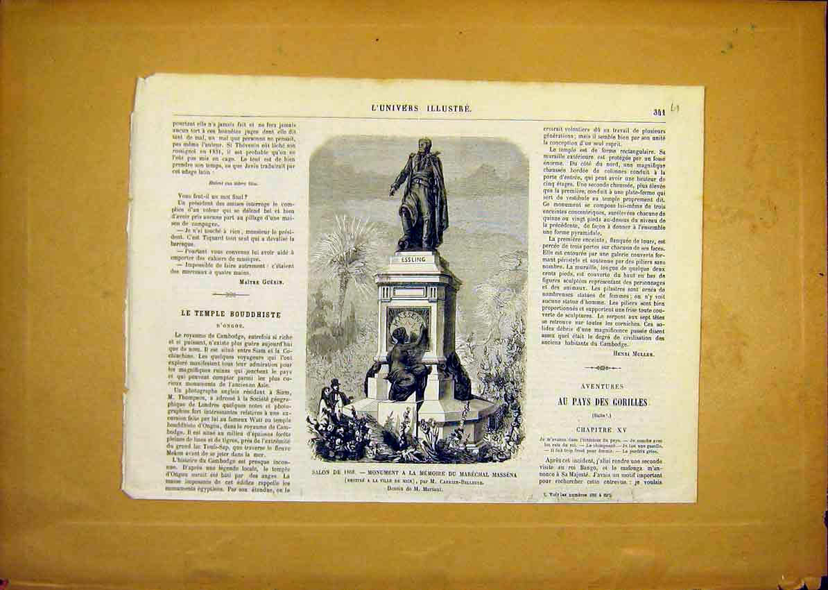 Print Monument Marechal Massena Nice French 1868 41Ulun0 Old Original