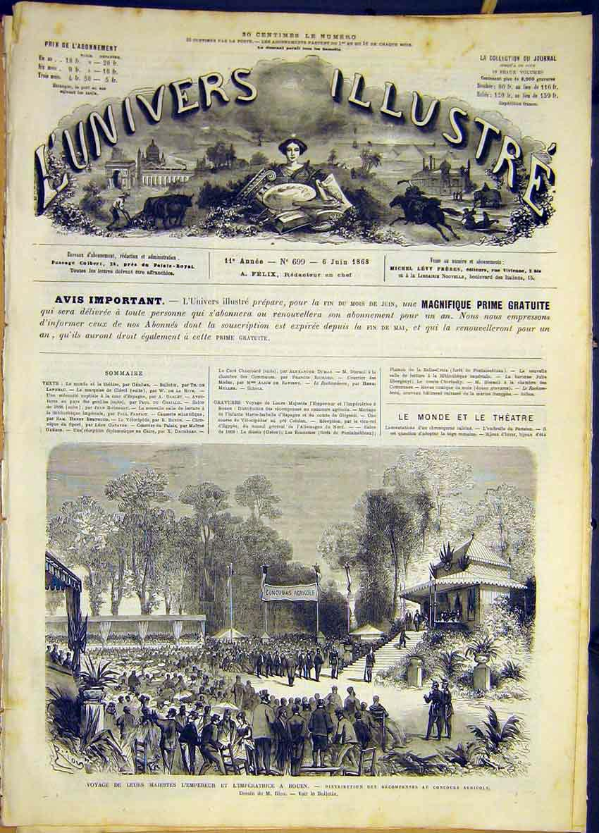 Print Rouen Royal Visit Emperor Agriculture French 1868 46Lun0 Old Original