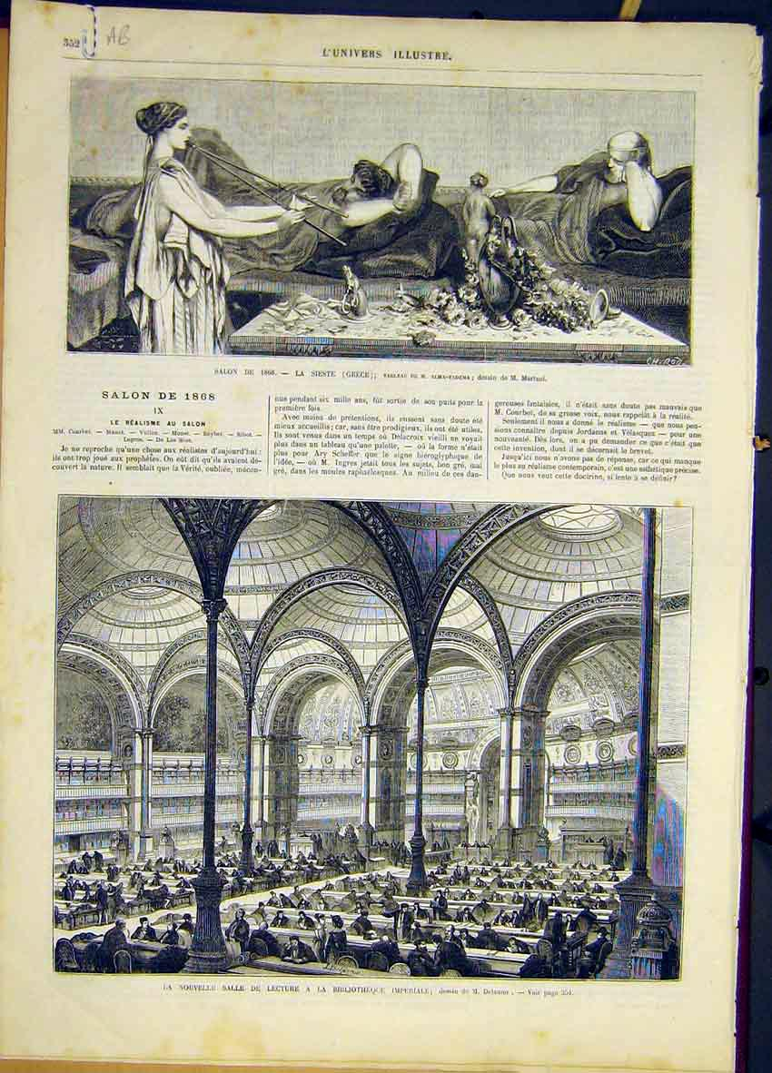 Print Sieste Greece Library Fontainebleau French 1868 52Alun0 Old Original