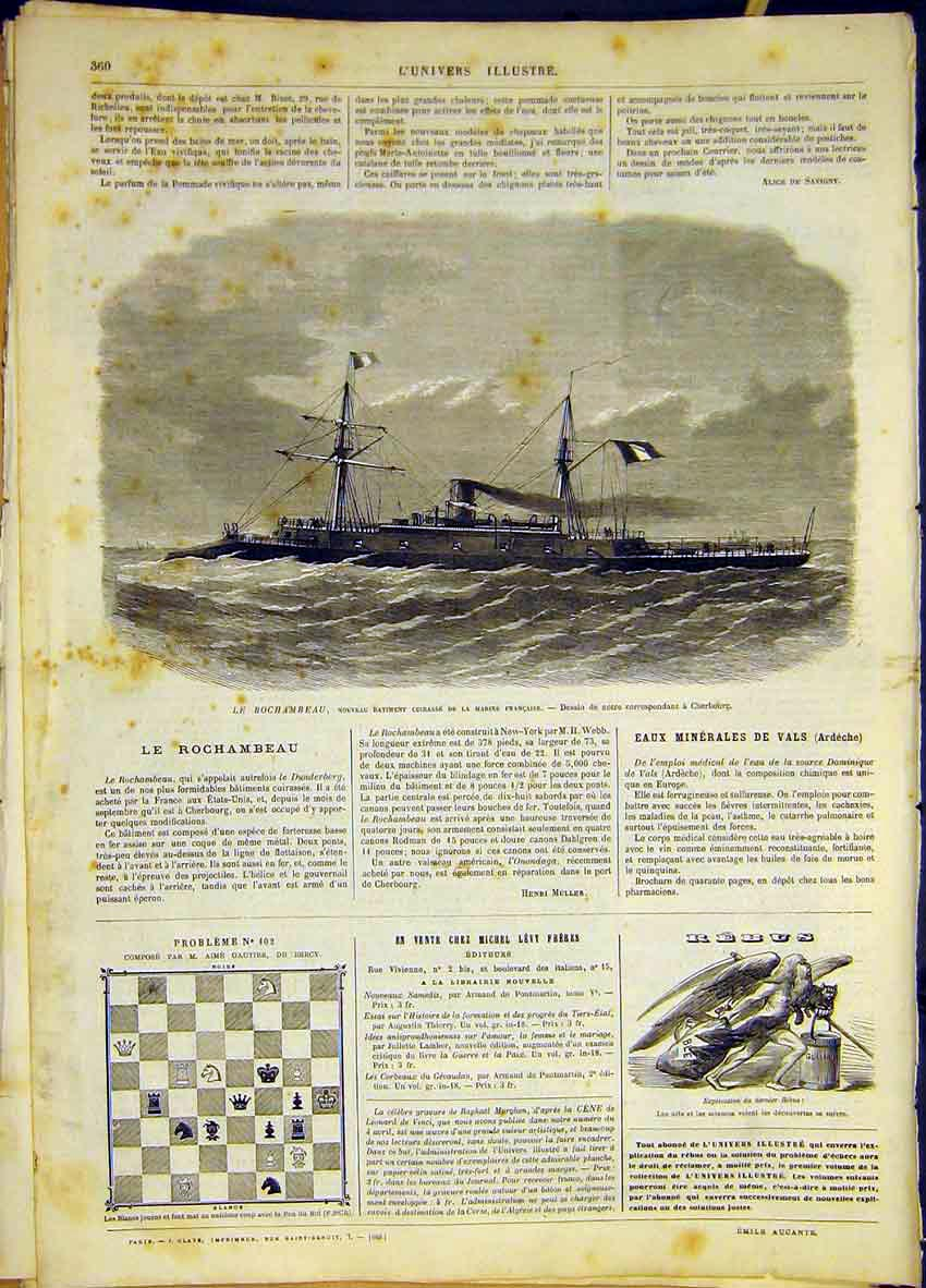 Print Ship Rochambeau France Navy French 1868 60Lun0 Old Original