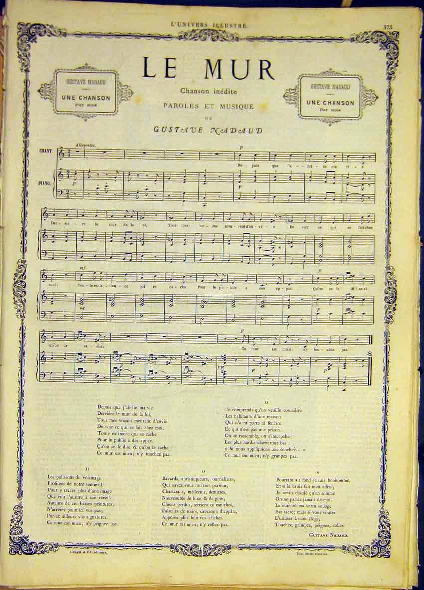 Print Le Muir Song Nadaud Music Score French 1868 73Lun0 Old Original