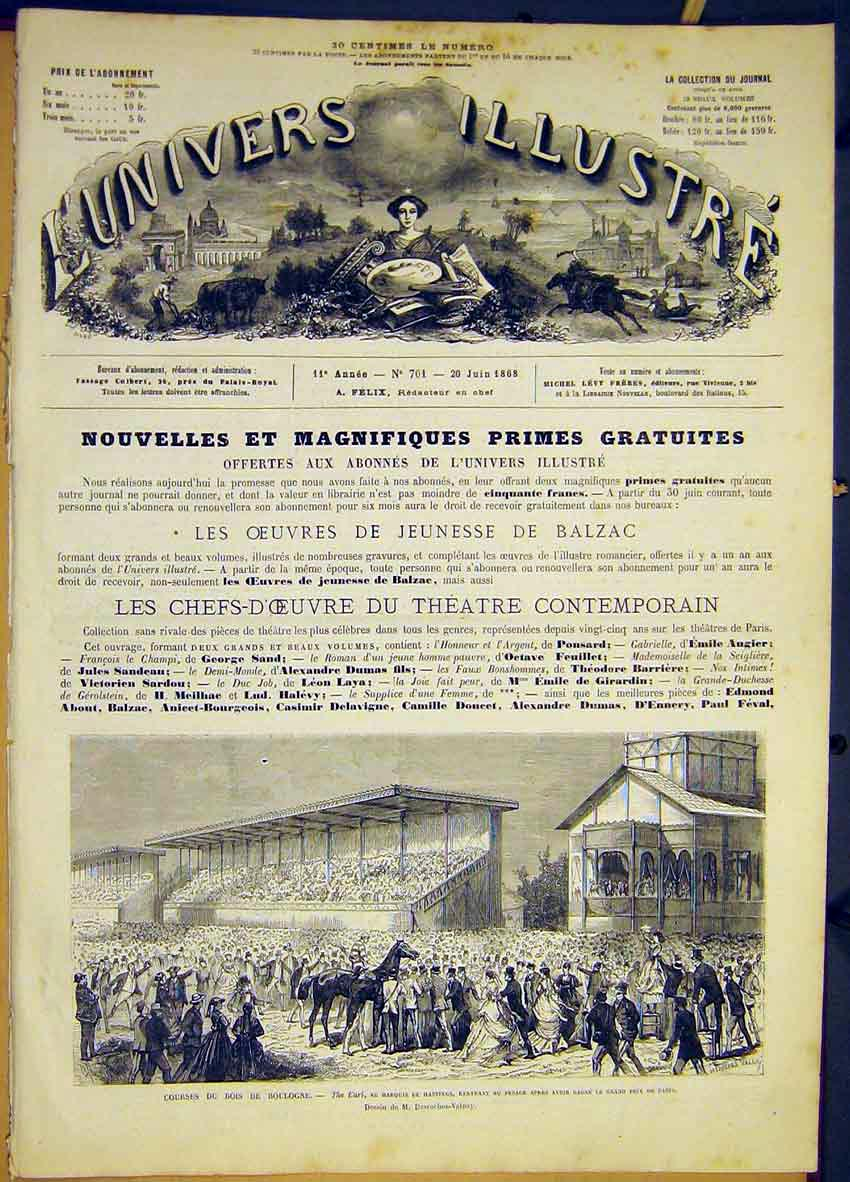 Print Race Course Boulogne Earl Hastings French 1868 78Lun0 Old Original