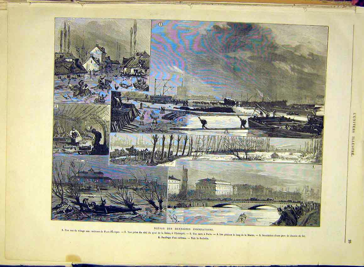 Print Flood Paris France Marne Railway Seine 1881 25Lun0 Old Original