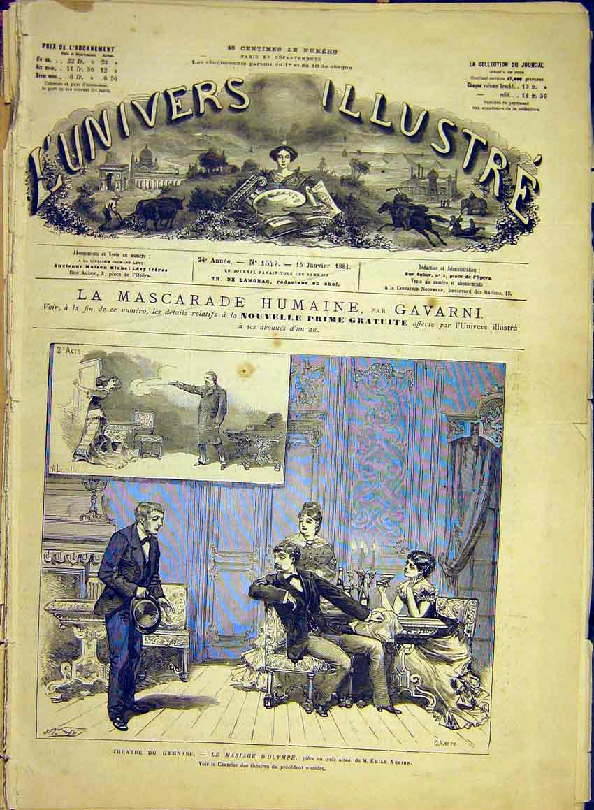Print Gymnase Theatre Marriage Olympia Augier Scene 1881 34Lun0 Old Original