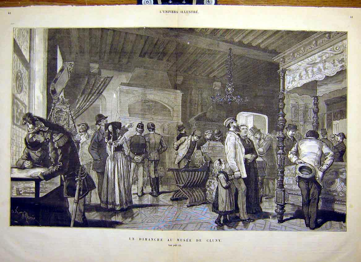 Print Museum Cluny Visitors Sunday French 1881 39Tlun0 Old Original