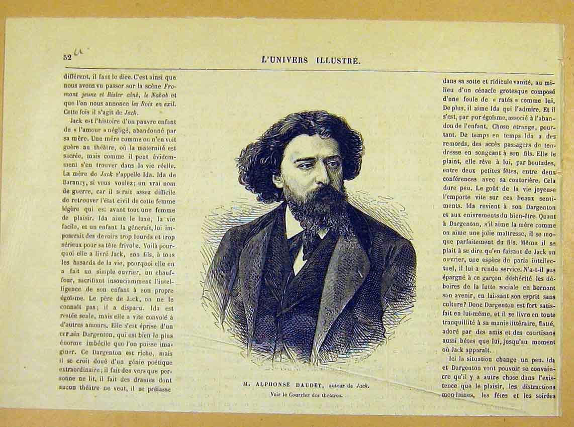 Print Portrit Alphonse Daudet Author Jack French 1881 52Ulun0 Old Original
