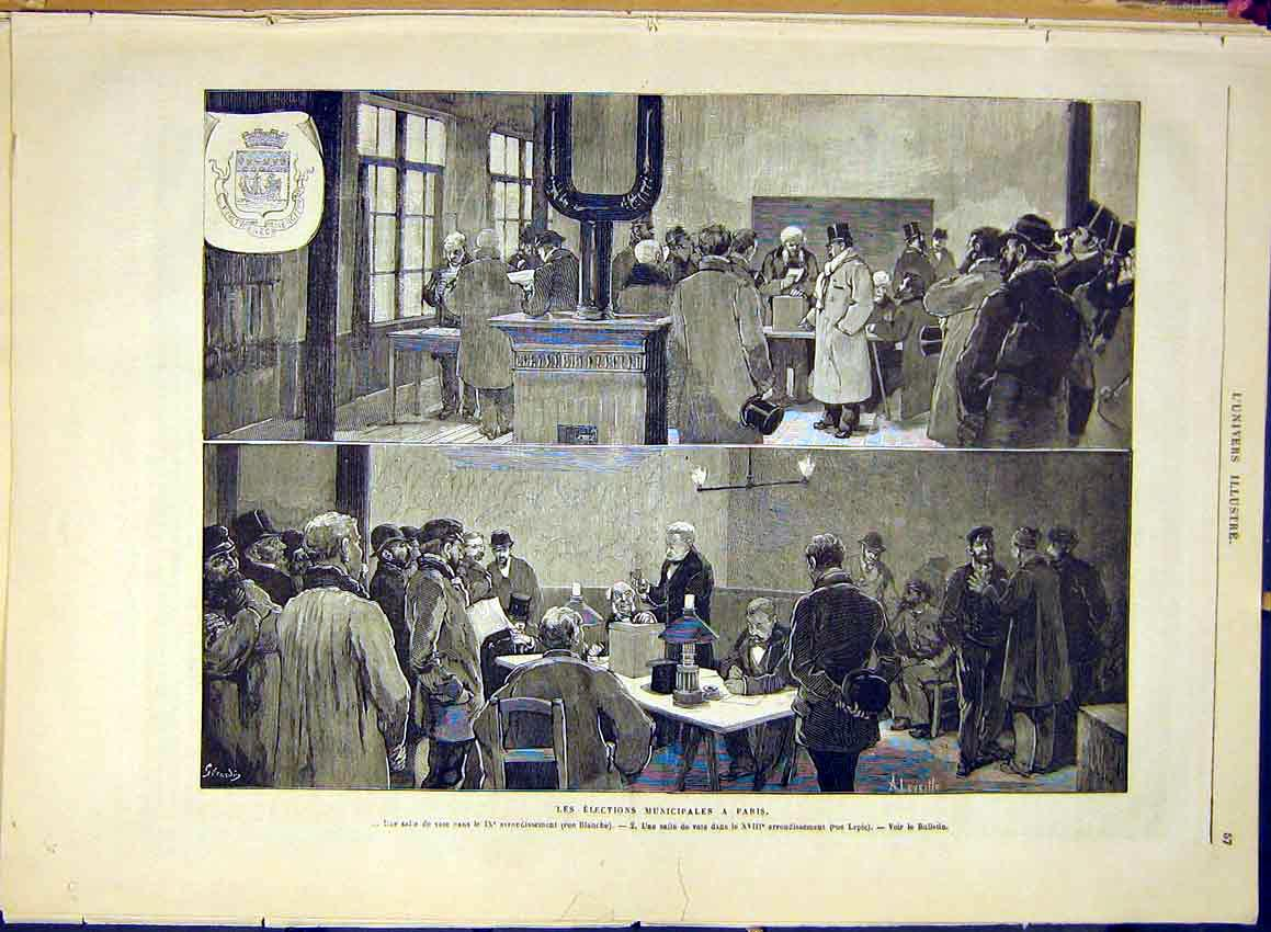 Print Elections Municipal Paris France French 1881 57Lun0 Old Original