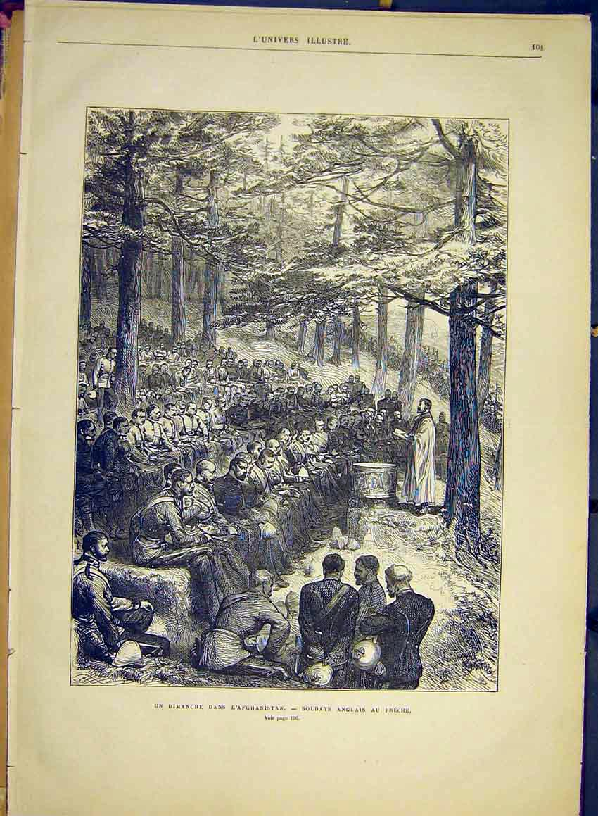 Print Afghanistan Soldiers Service Church Preach 1881 01Lun0 Old Original