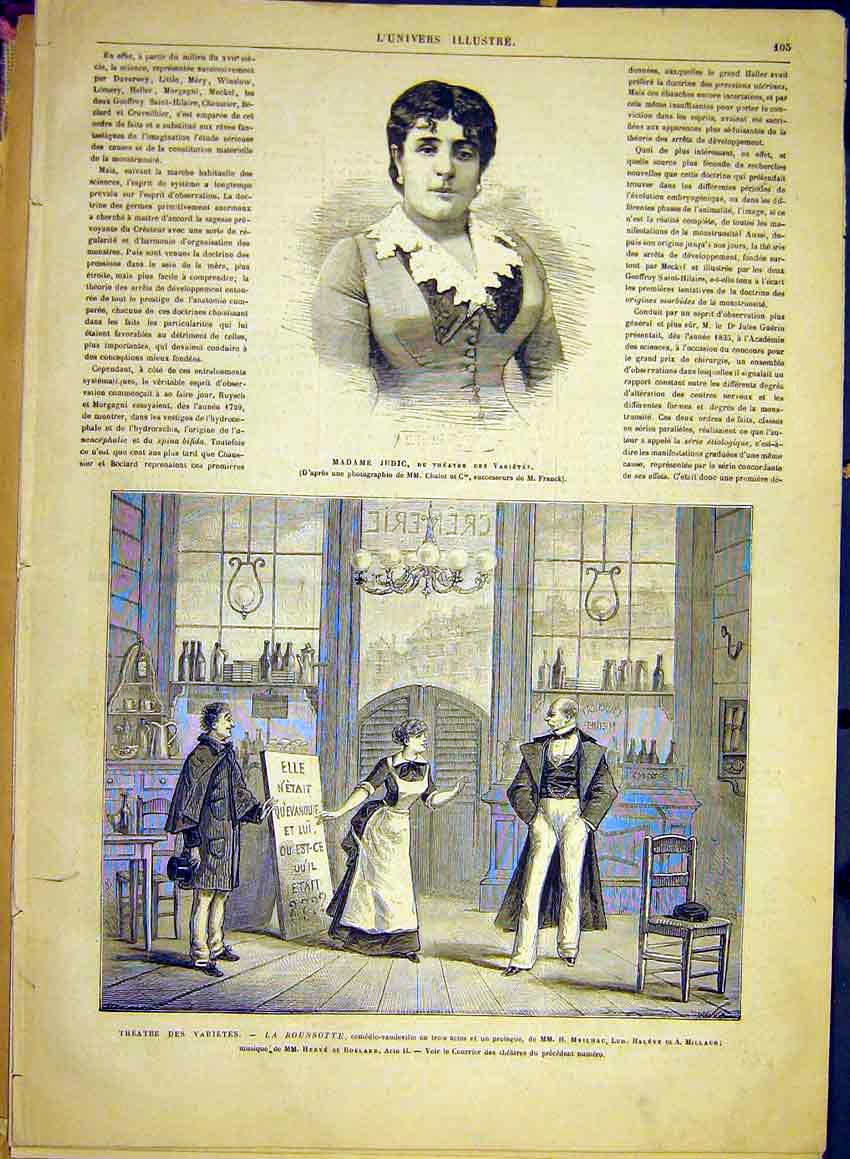 Print Judic Theatre Rousotte Meilhac Halevy Millaud 1881 05Lun0 Old Original