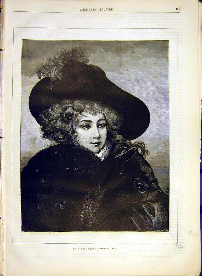 Print Portrait Winter Lady Woman Rossi French 1881 49Lun0 Old Original