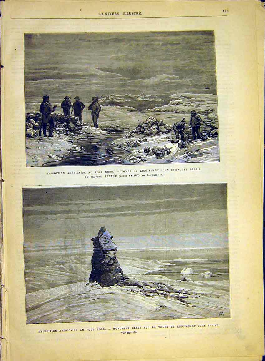 Print North-Pole Expedition Irving American Monument 1881 65Lun0 Old Original