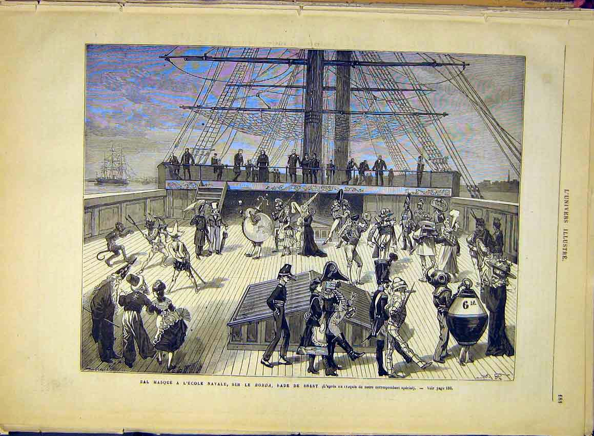 Print Masked Ball Naval School Borda Ship Navy 1881 81Lun0 Old Original