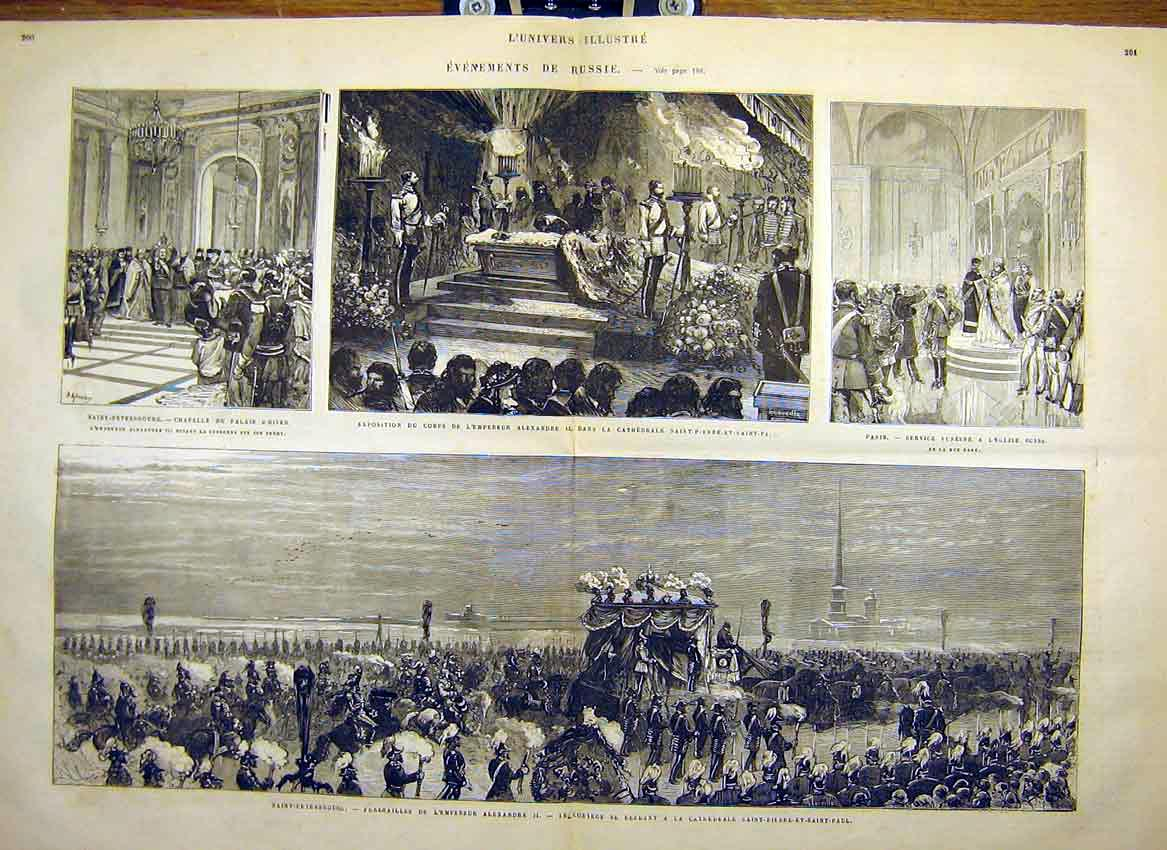 Print Russia Saint-Petersburg Winter Palace Cathedral 1881 99Tlun0 Old Original