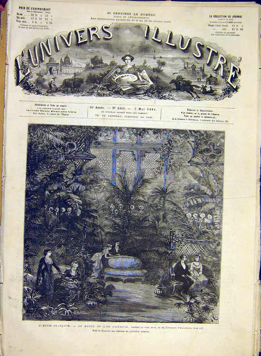 Print French Comedy Theatre Pailleron Scene French 1881 09Lun0 Old Original