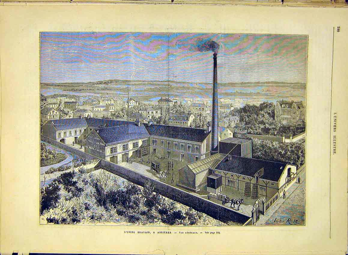 Print Asnieres Factory Bravais Mineral Water Spring 1881 20Lun0 Old Original