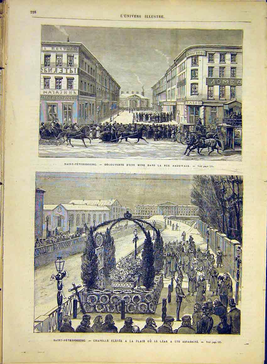 Print Saint-Petersburg Czar Assasination Tomb Mine 1881 28Lun0 Old Original