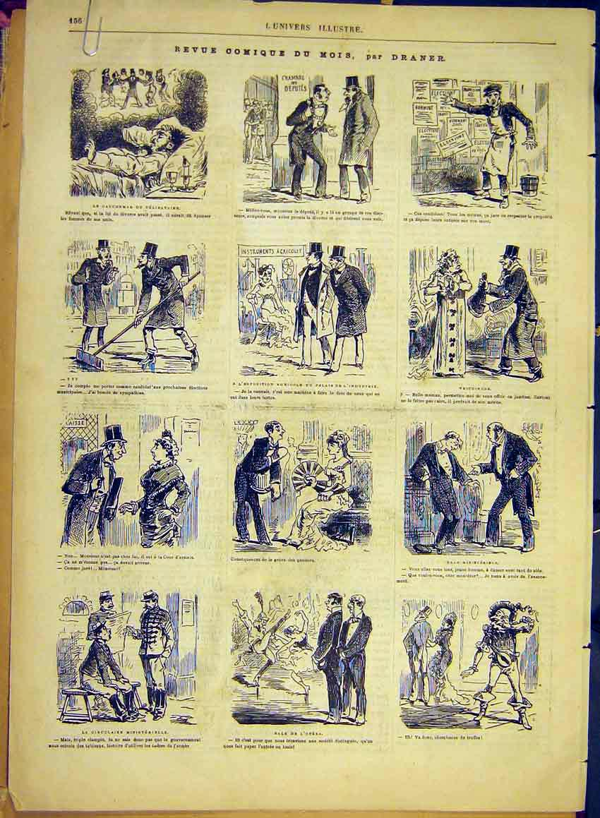 Print Draner Sketches Comic Review Porter Waiter 1881 36Alun0 Old Original