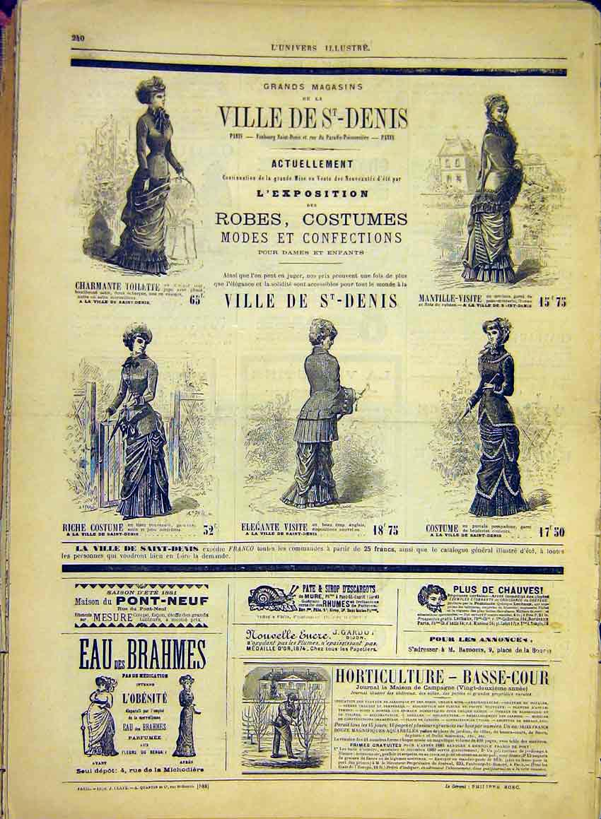 Print Fashion Ladies Costume Dresses Paris France 1881 40Lun0 Old Original