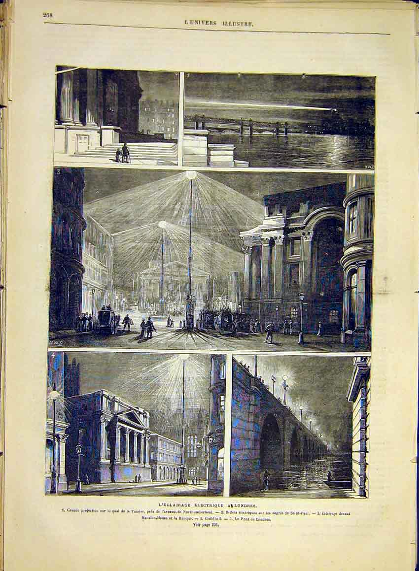 Print Electricity London Electric Light Thames Guildhall 1881 68Lun0 Old Original