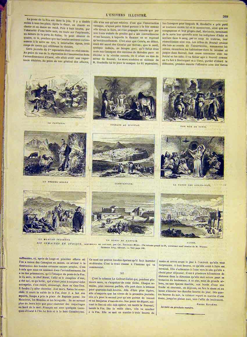 Print Africa Sketches Thierry-Mieg Tunis Alger 1881 69Lun0 Old Original
